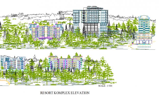 Resort front elevation dwg file