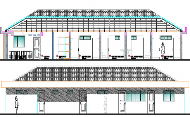 Restaurant Architecture Design and Main Elevation dwg file