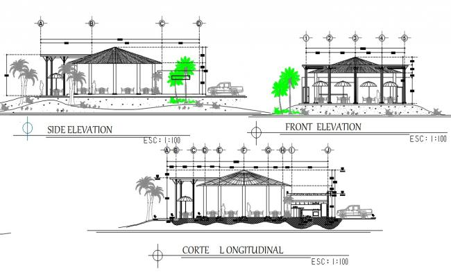 Restaurant Bar Elevation And Section CAD Drawing