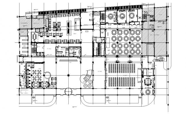 Restaurant Building Floor Plan DWG File