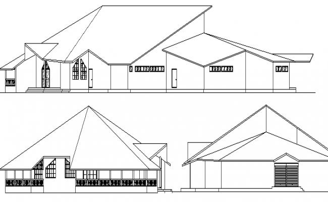 Restaurant design elevation and section details dwg file