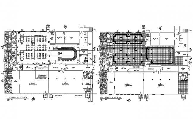 Restaurant Design Plan CAD File Download