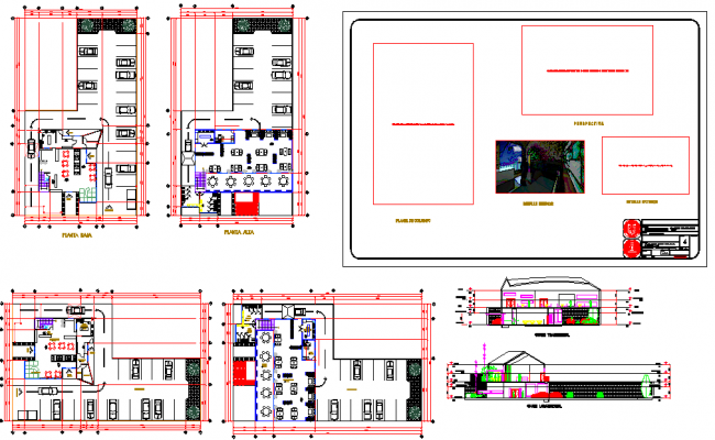 Restaurant Design with Plan and Elevation dwg file