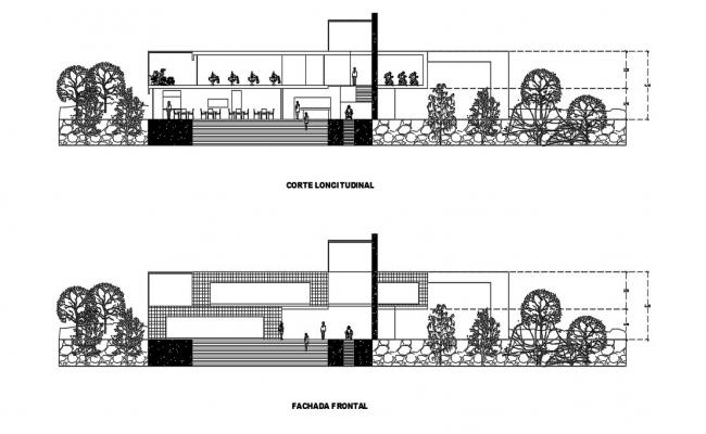 Restaurant Elevation Section  In AutoCAD Drawings
