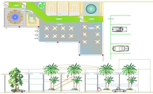 Restaurant Layout plan and Elevation design