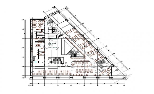 Restaurant building CAD structure detail layout plan