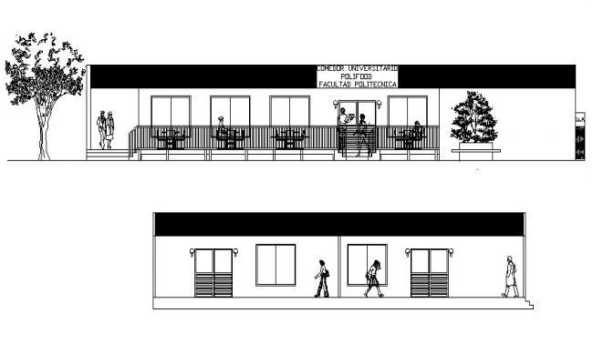 Restaurant Elevation Design In DWG File
