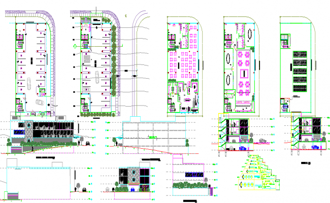 Restaurant design with plan and elevation dwg.file