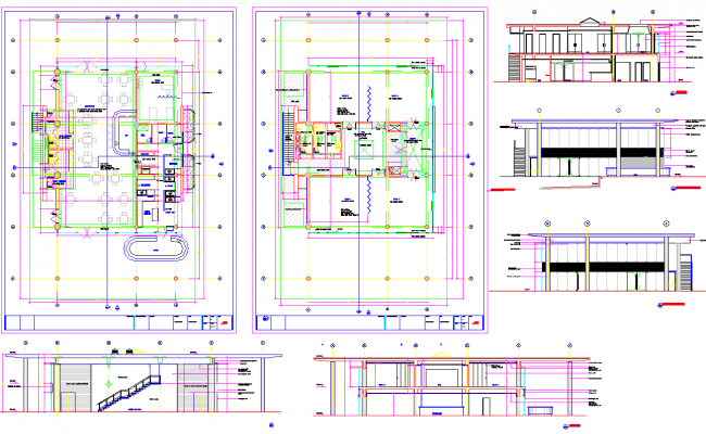 Restaurant layout plan and Elevation design