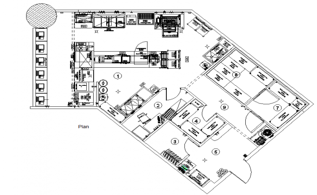 Restaurant layout plan dwg file