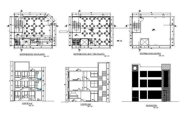 Restaurant main elevation, section and floor plan cad