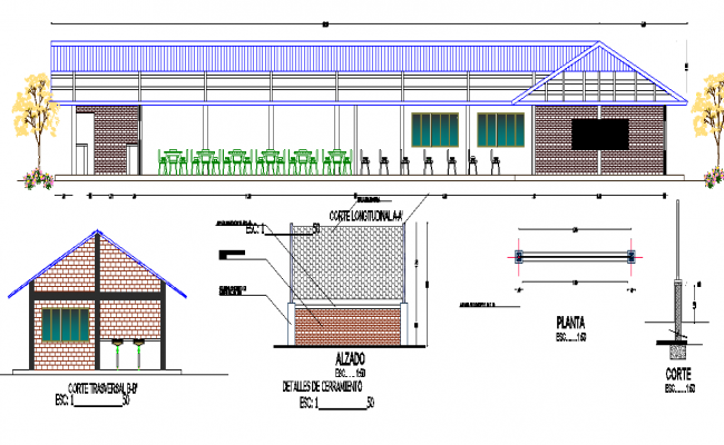Restaurant plan and elevation, section detail dwg file