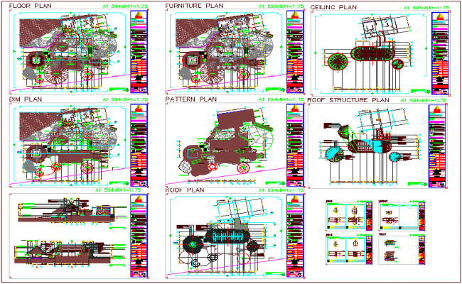 Restaurant plan view with ceiling,pattern,furniture and roof structure plan dwg file