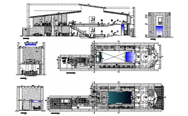 Restaurant with lounge and bar section and floor plan cad drawing details dwg file