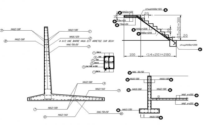 Retaining Wall RCC Structure DWG File