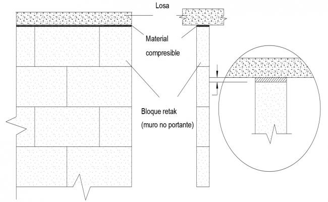 Retaining Wall Section With Joints Of I section drawing AutoCAD File Free