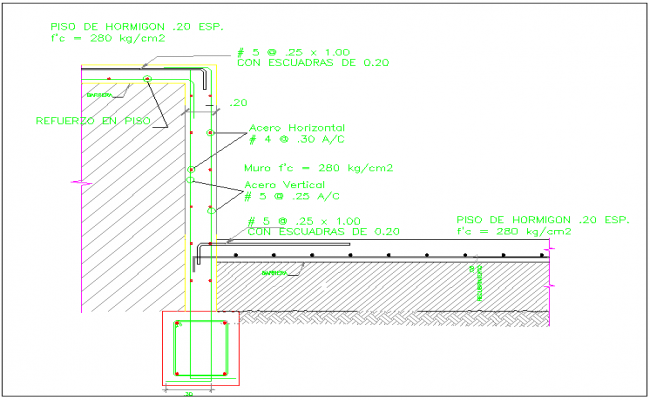 Retaining wall section view dwg file