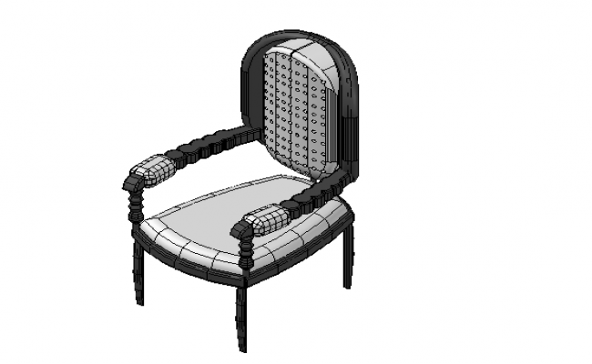 Retro chair design top view 3d