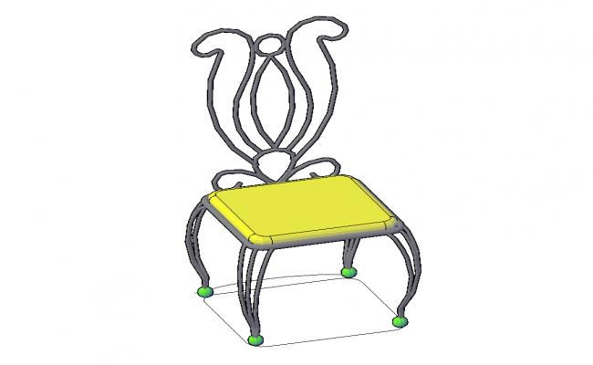 Retro steel chair detail elevation 3d  model autocad file