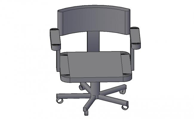 Revolving office chair 3d block cad drawing details dwg file