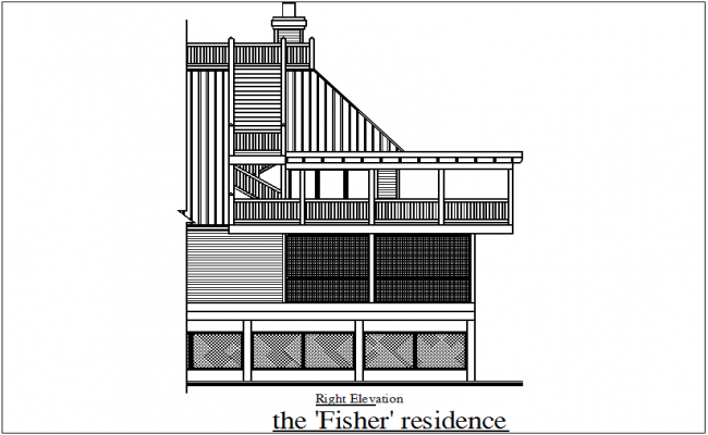 Right elevation view of fisher residence view dwg file