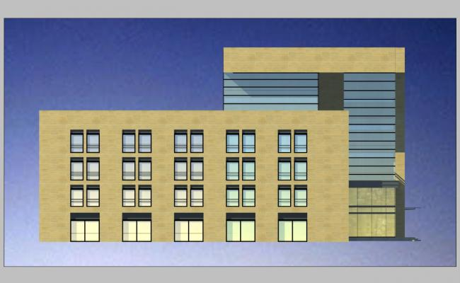 Right side elevation details of multi-level commercial 3d complex dwg file