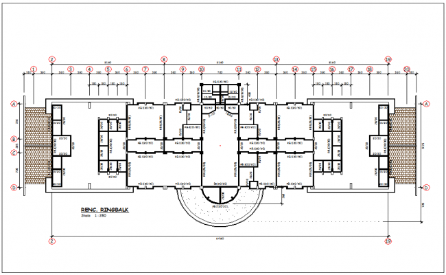 Ring balk view of plan with construction view for head quarter dwg file