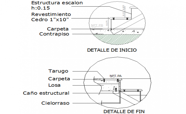 Riser and tread section detail dwg file