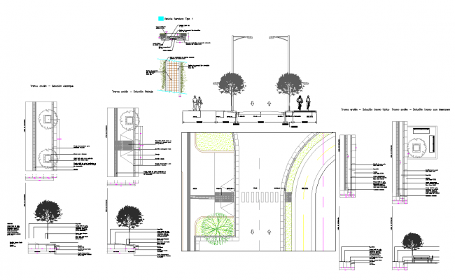 Road cross section view detail view dwg file