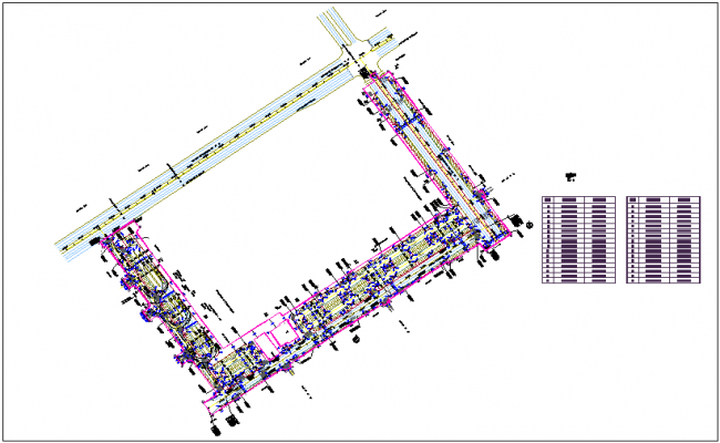 Road design with northing and easting calculation dwg file