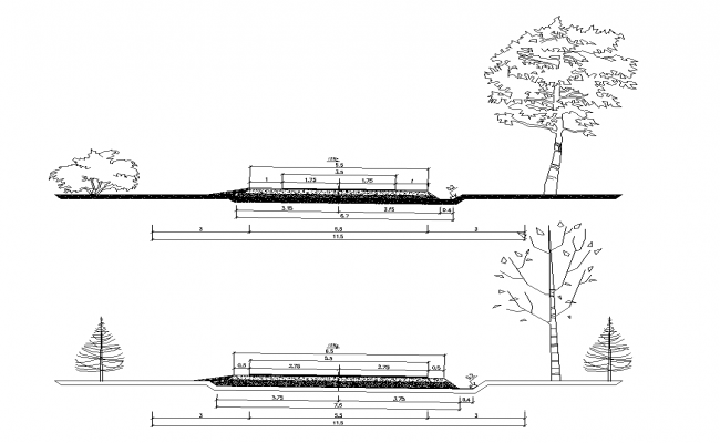 Road embankment cross-section detail 2d view layout file