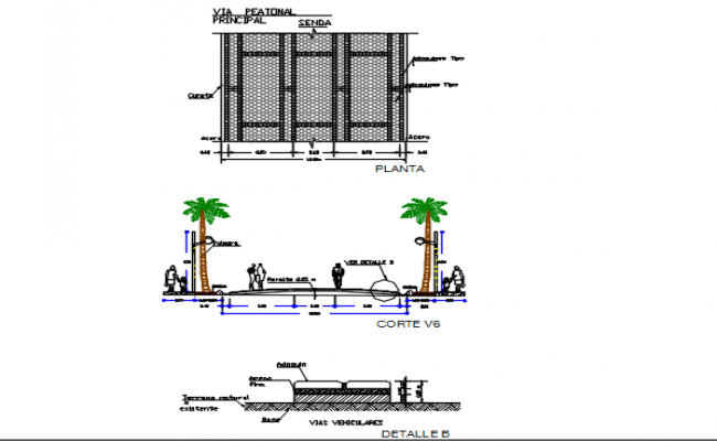 Road plan, elevation and section view detail dwg file