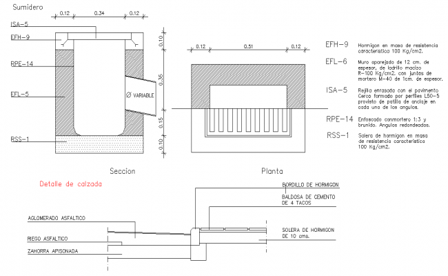 Road way plan and section dwg file