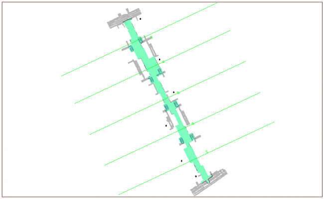 Road work layout with road distribution dwg file