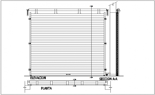 Roll door design with roll and sectional view dwg file