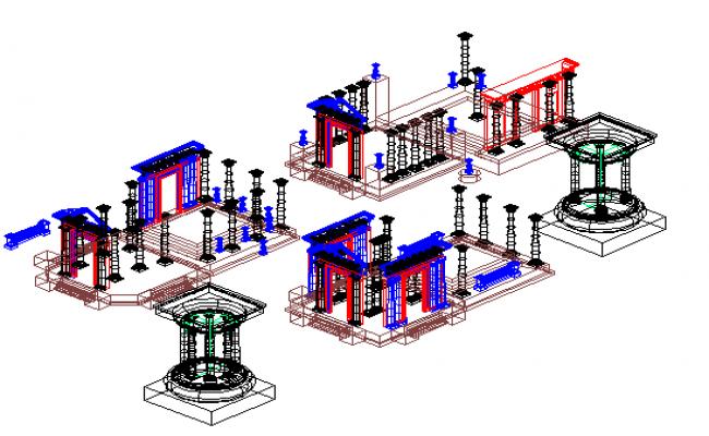 Roman Architecture 3D Elements dwg file
