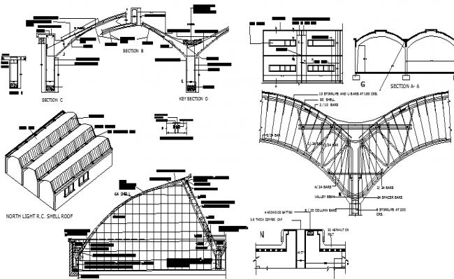 Roof Architecture Concrete Construction Details of Hospital dwg file