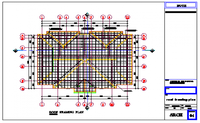 Roof Framing plan design drawing of residential building design drawing