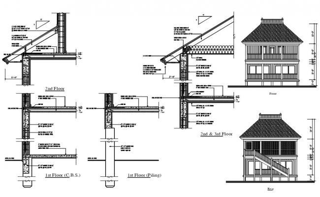 Roof Section And Elevation CAD Drawing