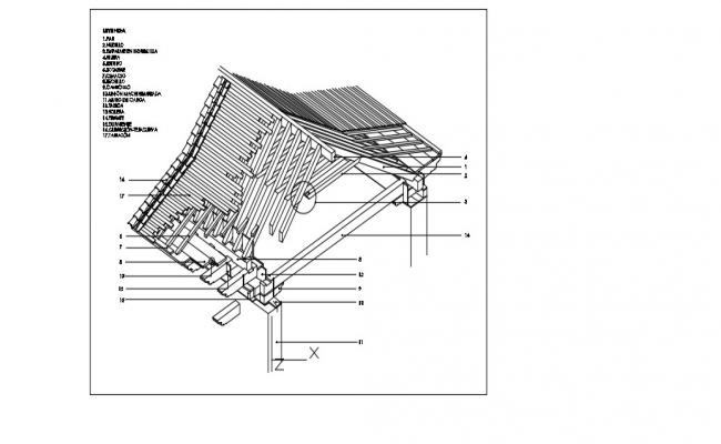 Roof Section Detail In AutoCAD File