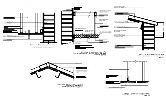 Roof and ceiling detail view dwg file
