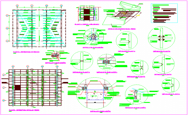 Roof and ceiling structure view with detail view dwg file