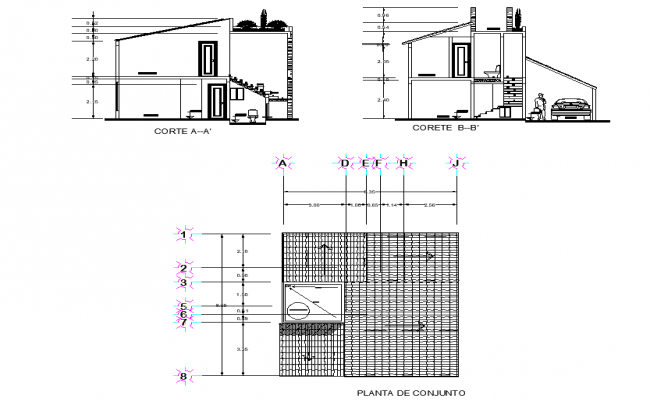 Roof and section house plan detail