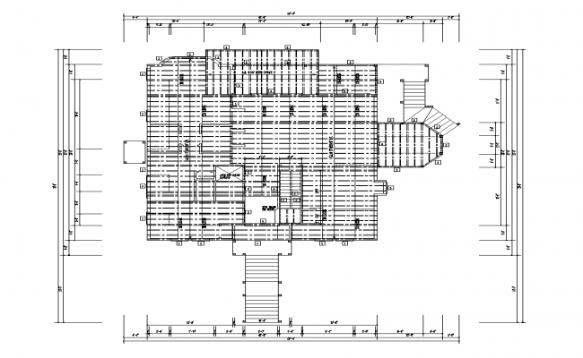 Roof and terrace plan detail 2d view autocad file
