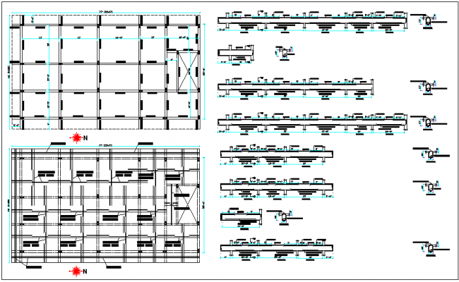 Roof beam and slab layout detail dwg file