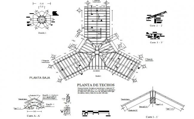 Roof cabin plan detail dwg file