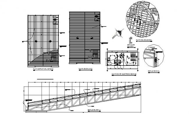 Roof construction, electrical layout plan and structure details of industrial nave dwg file