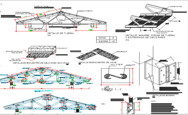 Roof construction details of administration office dwg file