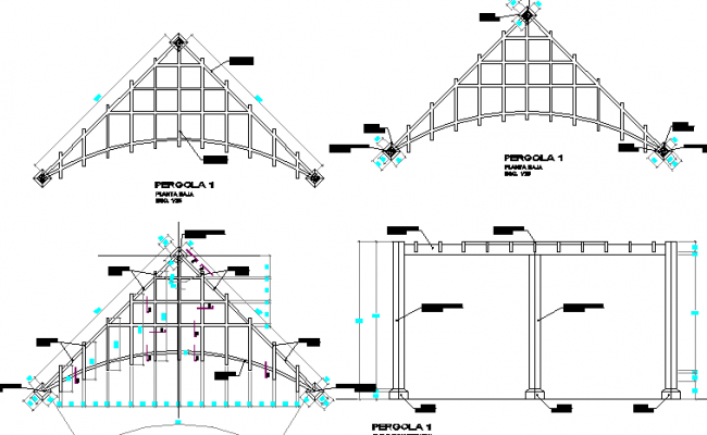 Roof construction details of city bank dwg file
