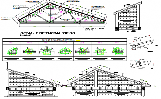 Roof construction details of religious church dwg file